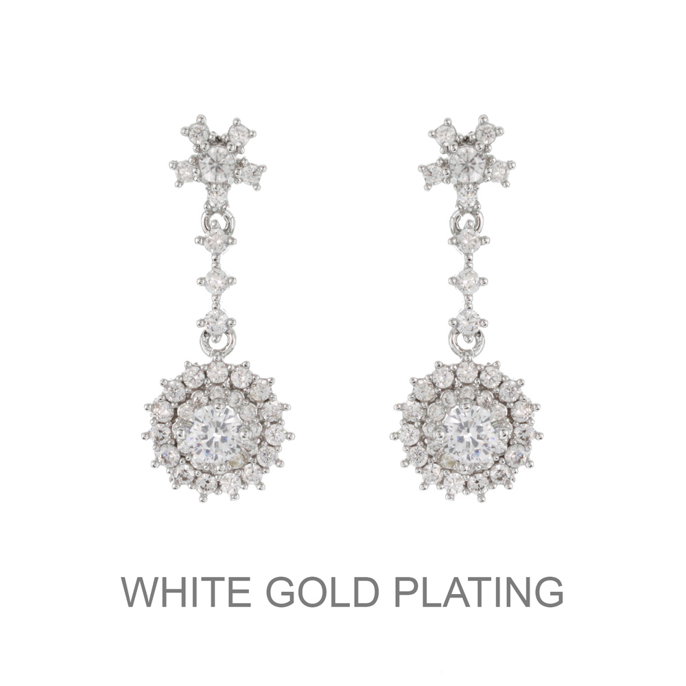 ECZ4591 R Dangly Round Cz Stone Earrings With White Gold Plating Ecz4591R - CZ Earrings